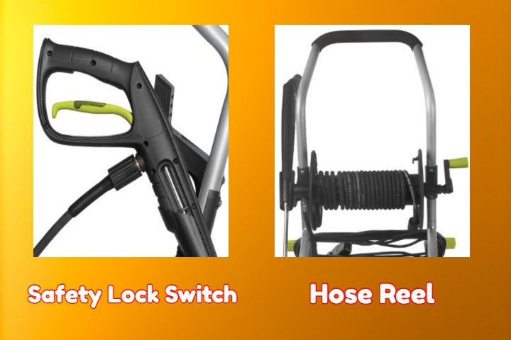 Sun Joe SPX4001 Reviews_Safety Lock Switch & Hose Reel